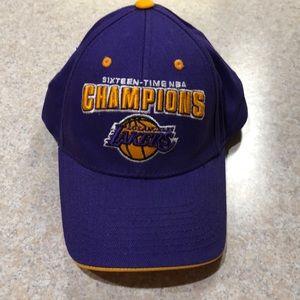 LA Lakers NBA 16 time NBA champions hat
